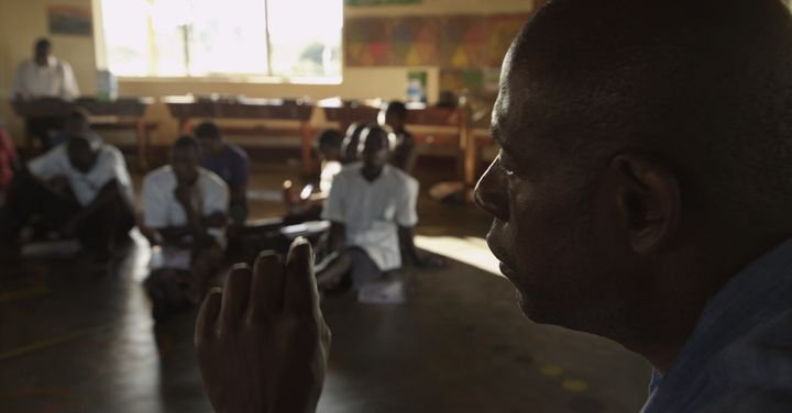 Forest Whitaker speaks with former child soldiers and orphans at Hope North, Uganda, as part of the Oscar-winning actor'
