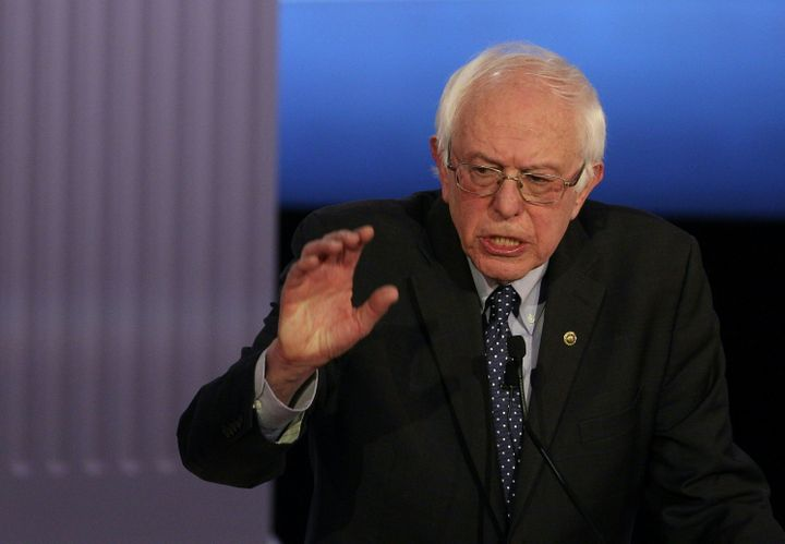 Democratic presidential hopeful Bernie Sanders participates in the PBS NewsHour Presidential Primary Debate with Hillary