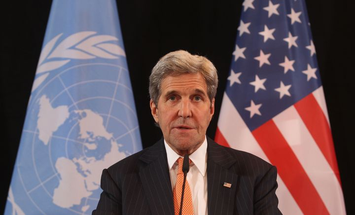 Secretary of State John Kerry speaks during a press conference following a meeting of the International Syrian Support Group