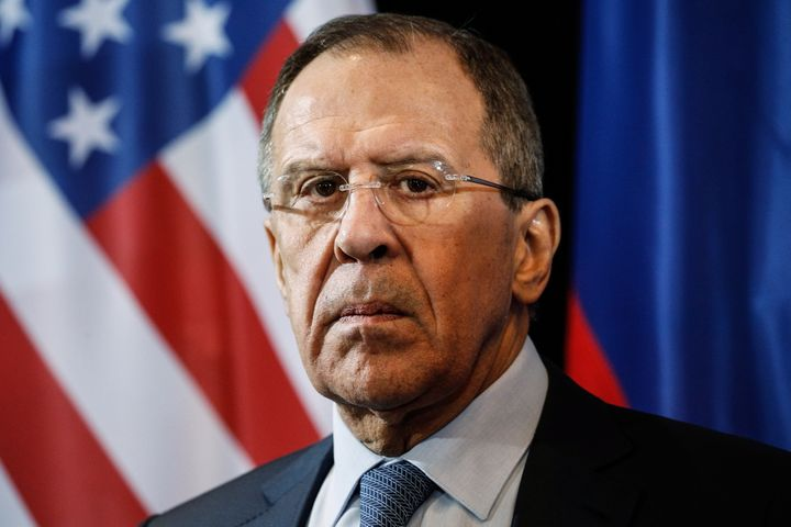 Russia's Foreign Minister Sergei Lavrov looks on during a press conference following a meeting of the International Syria Sup