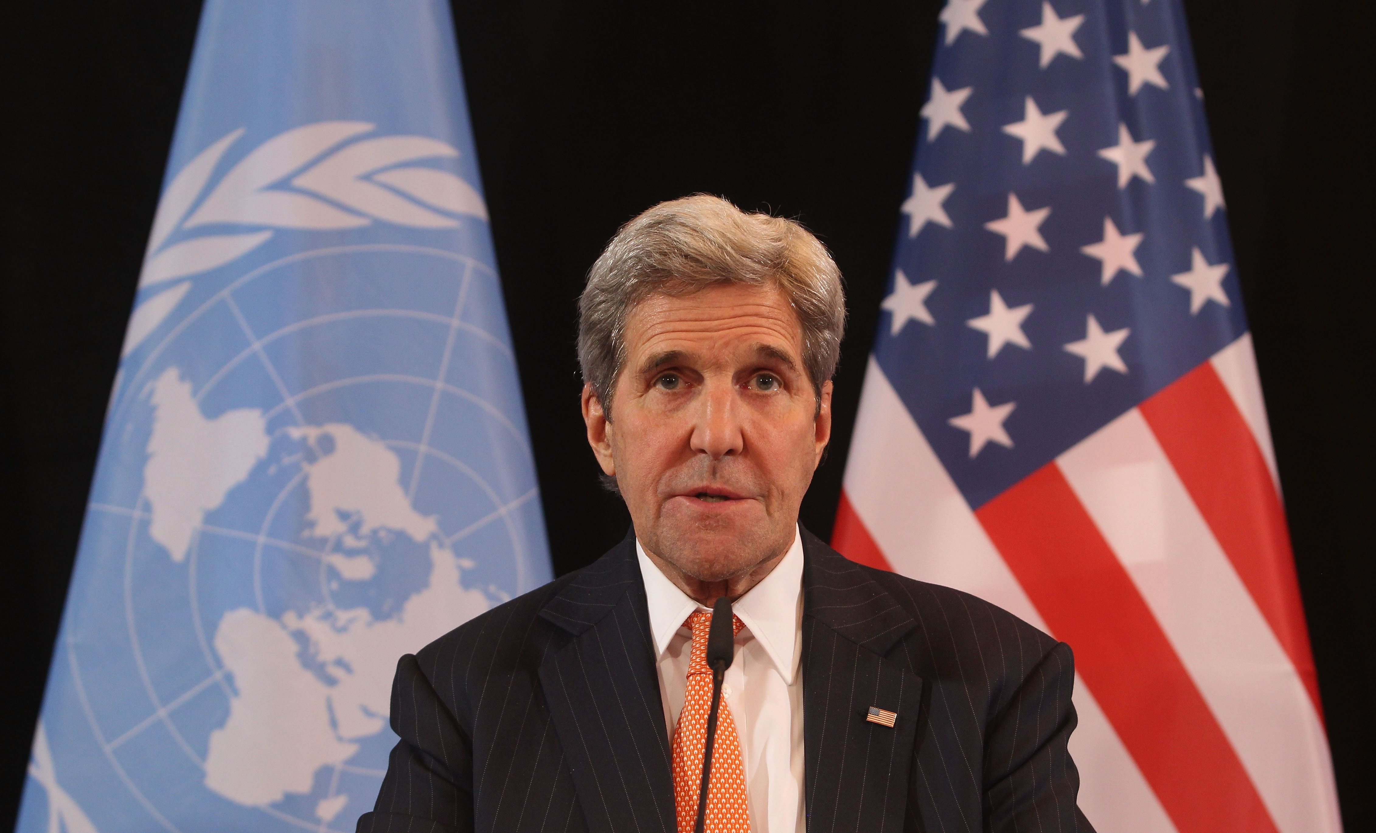 MUNICH, GERMANY - FEBRUARY 11:  US Secretary of State John Kerry speaks during a press conference following a meeting of the International Syrian Support Group (ISSG) on February 11, 2016 in Munich, Germany. ISSG met in Munich ahead of the International Munich Security Conference to further discuss a peaceful solution in the Syria war.  (Photo by Alexandra Beier/Getty Images)
