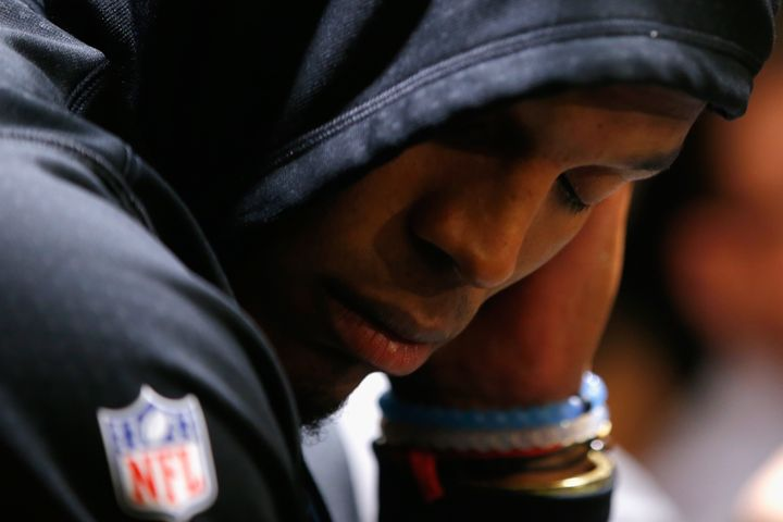Cam Newton was visibly upset during his Super Bowl postgame press conference on Feb. 7, 2016 in Santa Clara, Califo