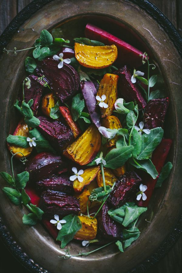 """<strong>Get the <a href=""""http://www.adventures-in-cooking.com/2014/06/roasted-beet-salad-with-pea-shoots.html"""" target=""""_blank"""