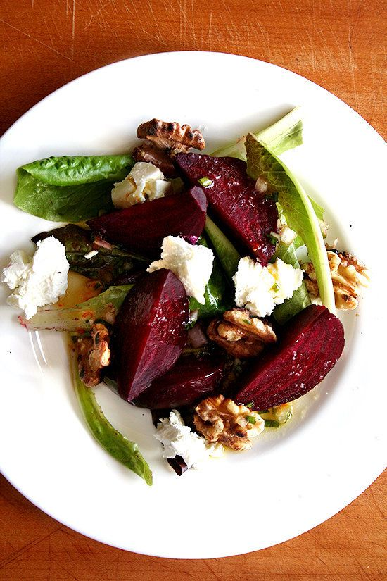 """<strong>Get the <a href=""""http://www.alexandracooks.com/2010/04/29/salt-roasted-beets-with-goat-cheese-and-toasted-walnuts/"""" t"""