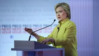 MILWAUKEE, WI - FEBRUARY 11:  Democratic presidential candidate Hillary Clinton participates in the PBS NewsHour Democratic presidential candidate debate at the University of Wisconsin-Milwaukee on February 11, 2016 in Milwaukee, Wisconsin. The debate is the final debate before the Nevada caucuses scheduled for February 20.  (Photo by Win McNamee/Getty Images)