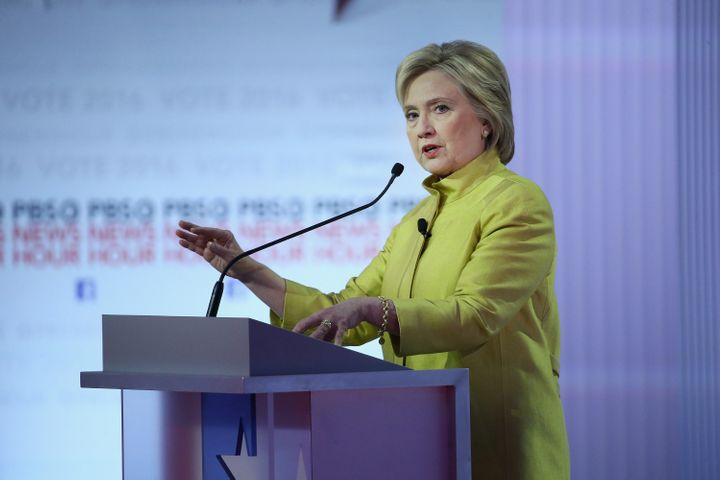 Clinton speaking at the sixth Democratic Debate on Thursday night.