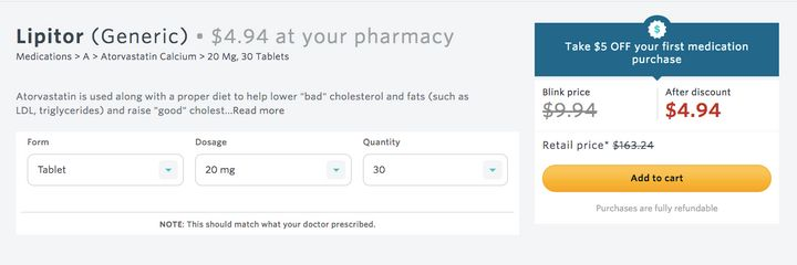 Forty percent of the medications available for purchase on Blink's website cost $5 or less, according to the compan