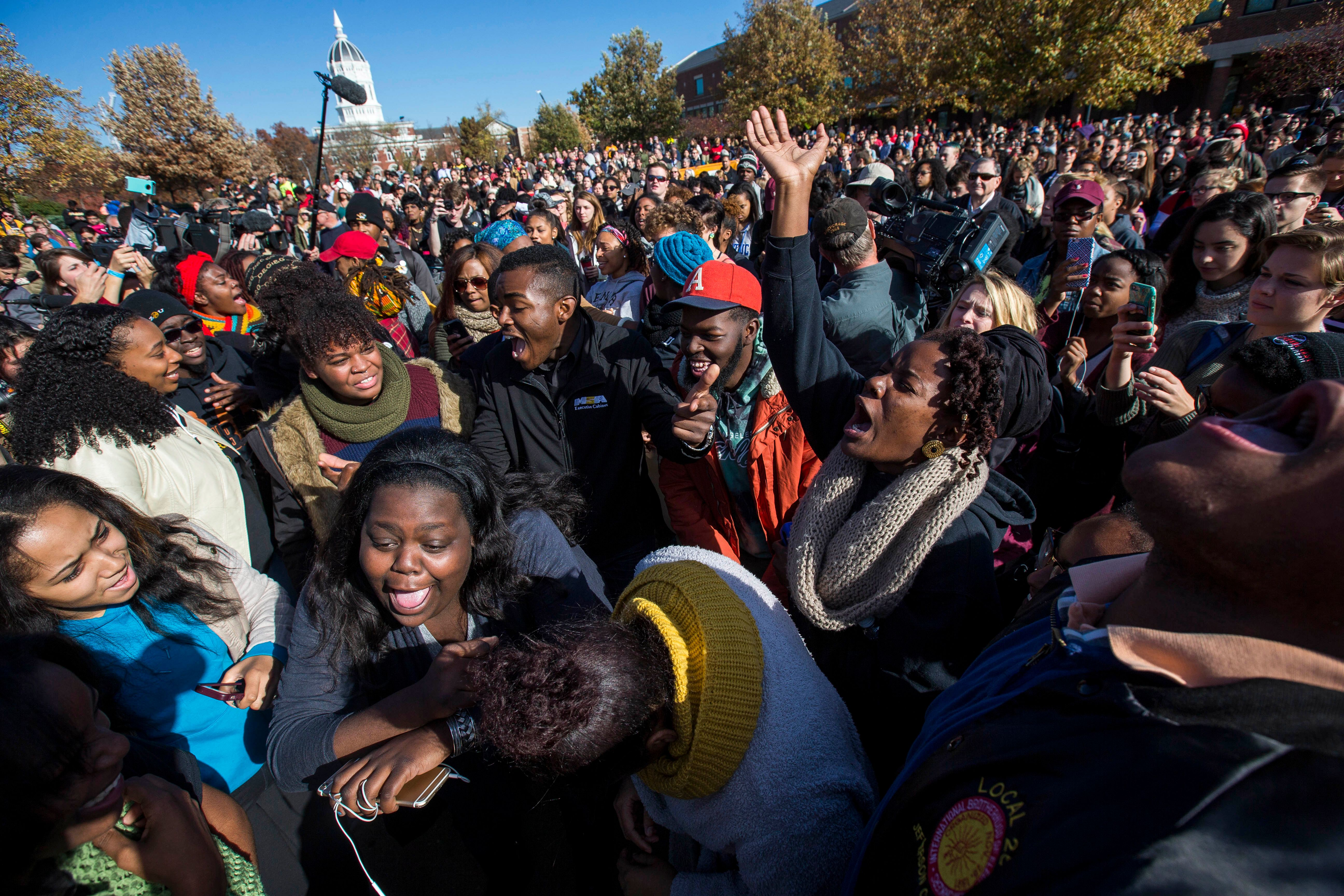 Students celebrate in November after Mizzou's president resigned under pressure over his response toracism on campus.