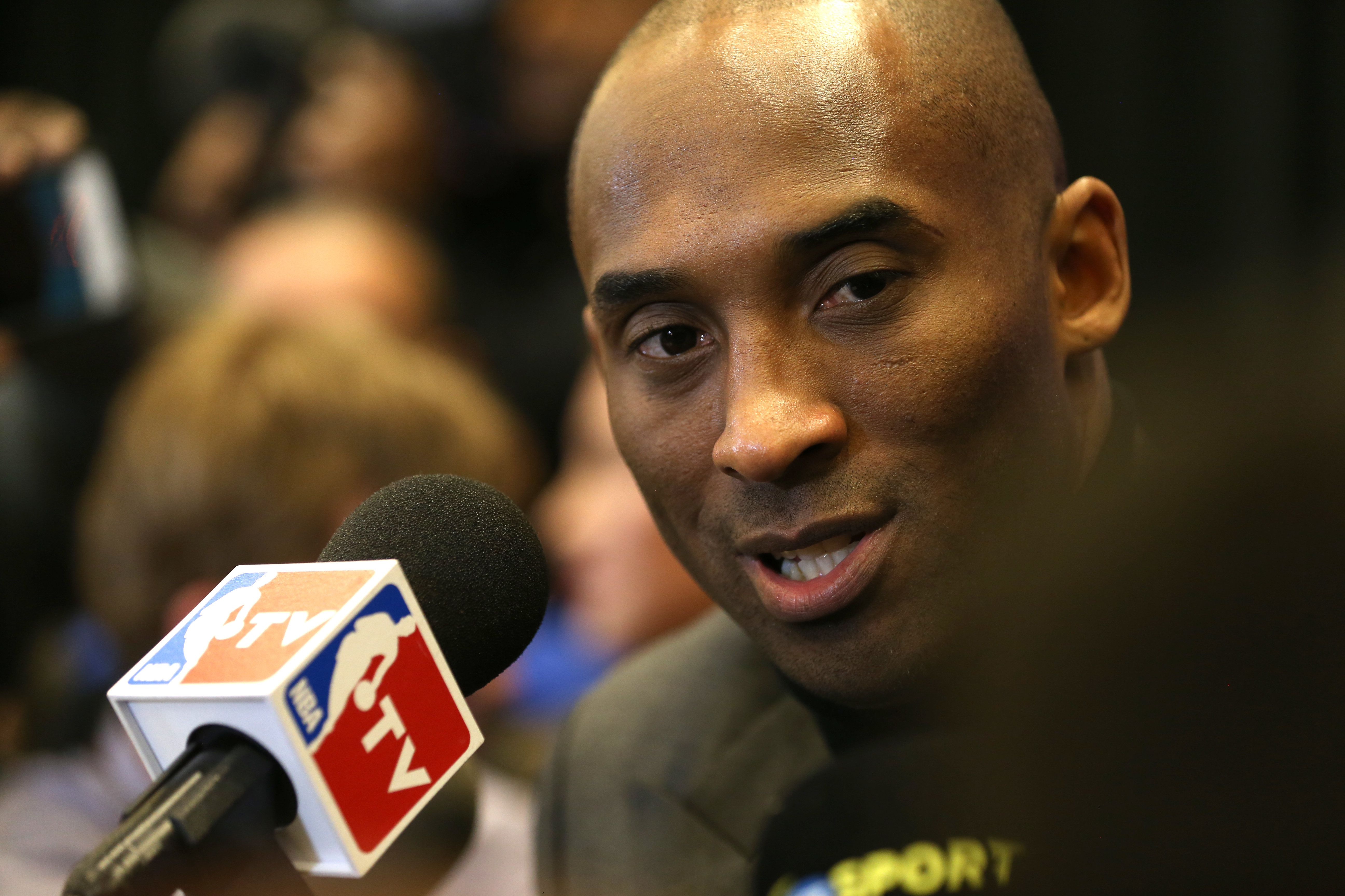TORONTO, CANADA - FEBRUARY 12:  Kobe Bryant #24 of the Los Angeles Lakers speaks to the media during media availability as part of 2016 NBA All-Star Weekend at the Sheraton Centre Toronto Hotel on February 12, 2016 in Toronto, Ontario, Canada. NOTE TO USER: User expressly acknowledges and agrees that, by downloading and/or using this photograph, user is consenting to the terms and conditions of the Getty Images License Agreement.  Mandatory Copyright Notice: Copyright 2016 NBAE (Photo by Dave Sandford/NBAE via Getty Images)