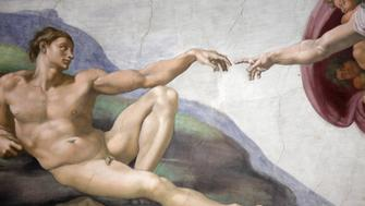 The Creation of Adam by Michelangelo in the Sistine Chapel, Vatical City, Rome.