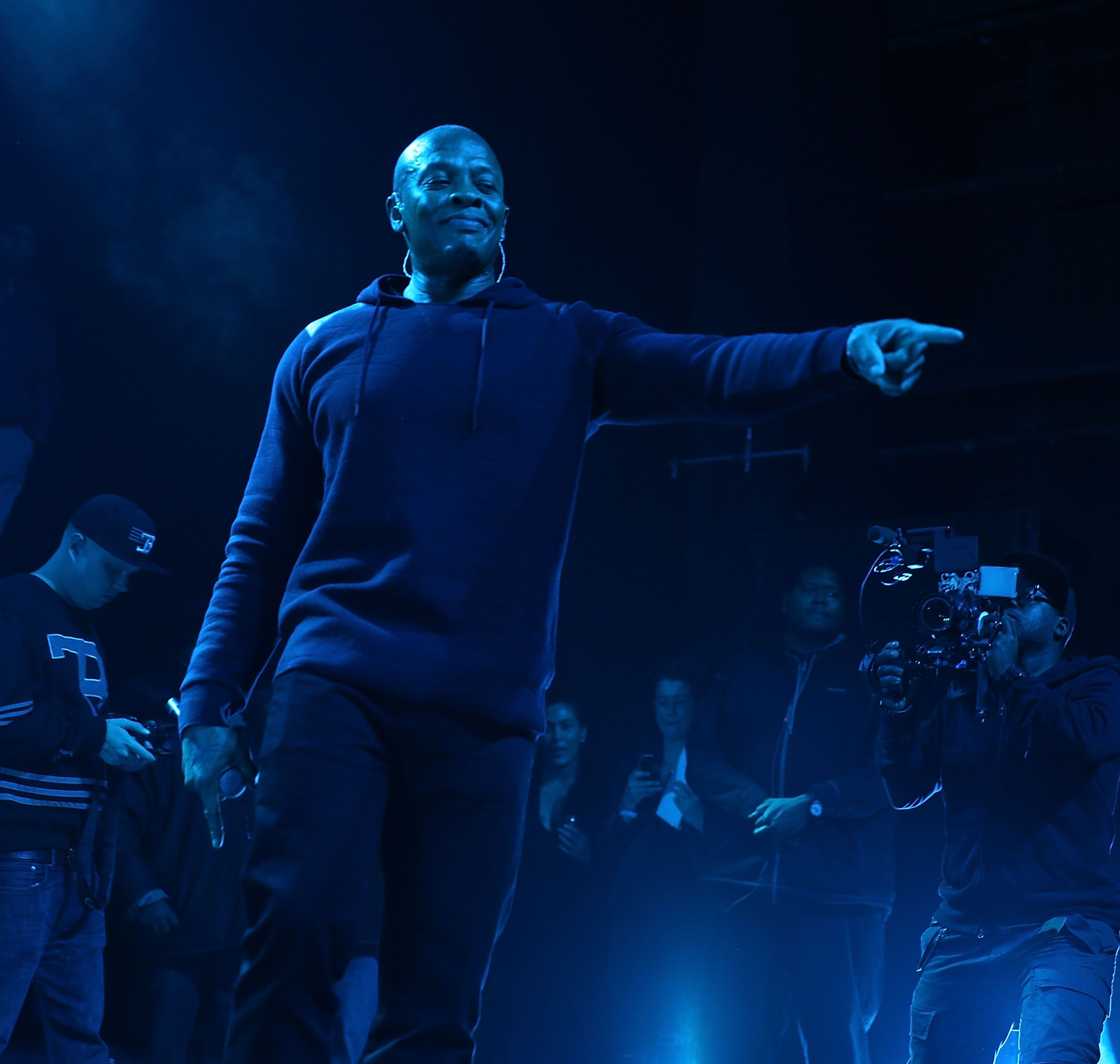 NEW YORK, NY - FEBRUARY 12:  Dr. Dre at Madison Square Garden on February 12, 2015 in New York City.  (Photo by Shareif Ziyadat/WireImage)