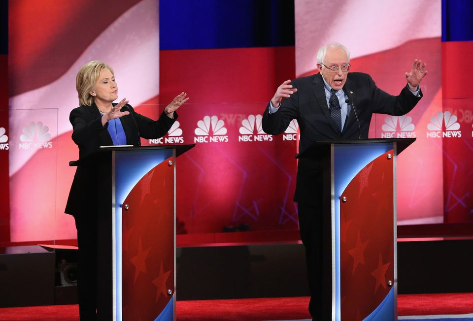 Democratic presidential candidates Hillary Clinton and Bernie Sanders participate in the debate hosted by NBC News and YouTub