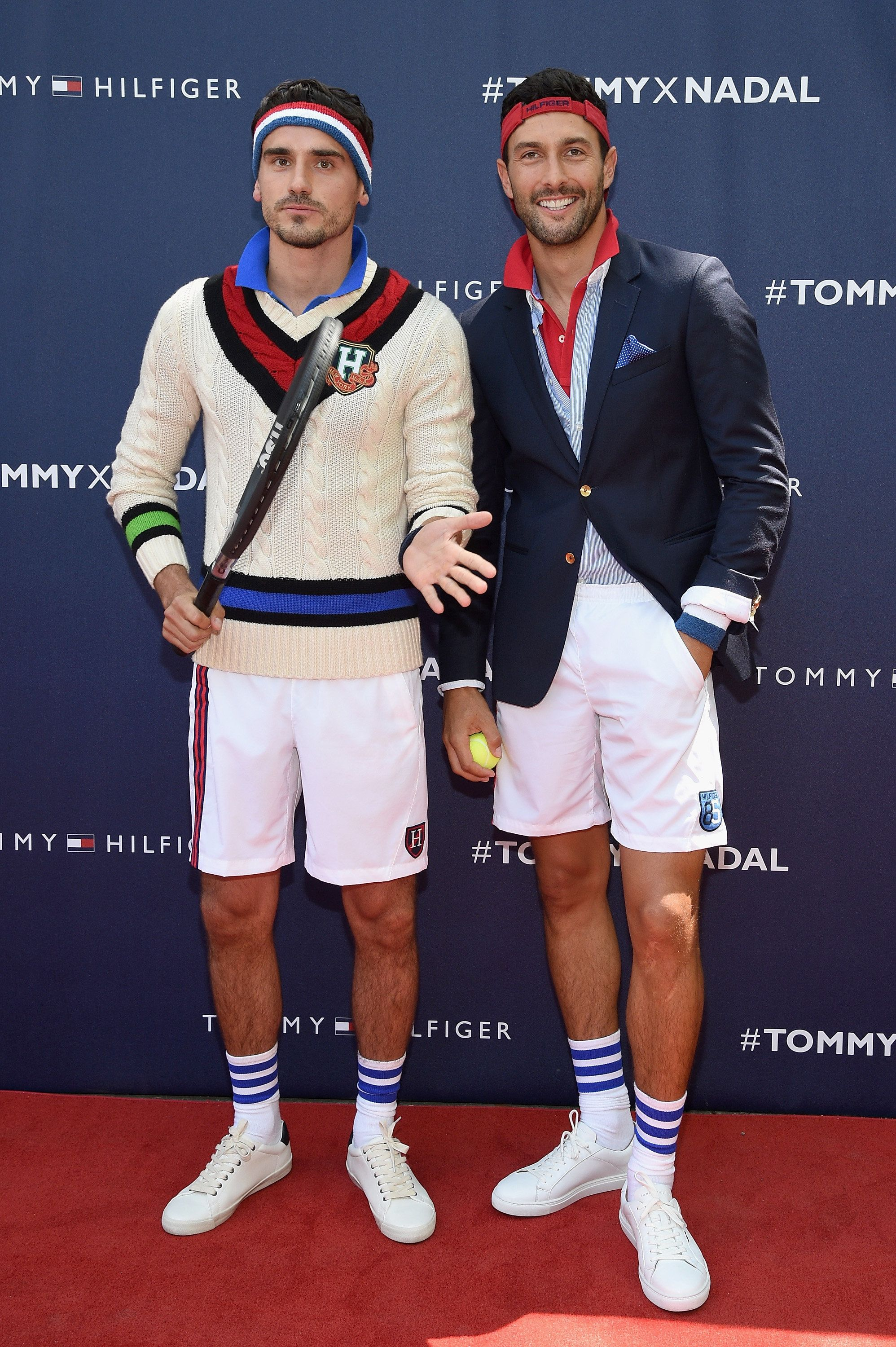 NEW YORK, NY - AUGUST 25:  Models Arthur Kulkov and Noah Mills attend the Tommy Hilfiger and Rafael Nadal Global Brand Ambassadorship Launch  at Bryant Park on August 25, 2015 in New York City.  (Photo by Mike Coppola/Getty Images for Tommy Hilfiger)