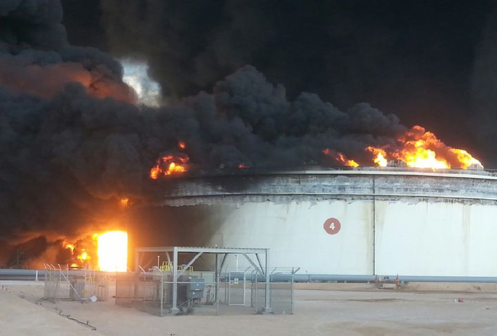 An oil storage tank set ablaze after ISIS tried to capture oil export facilities in Libya in January.