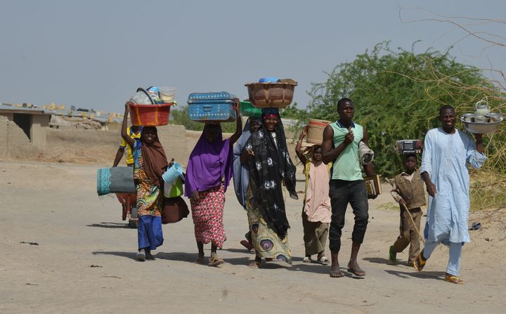 The militant group operates in a remote border zone in West Africa. In this picture, people flee Boko Haram attacks in northe