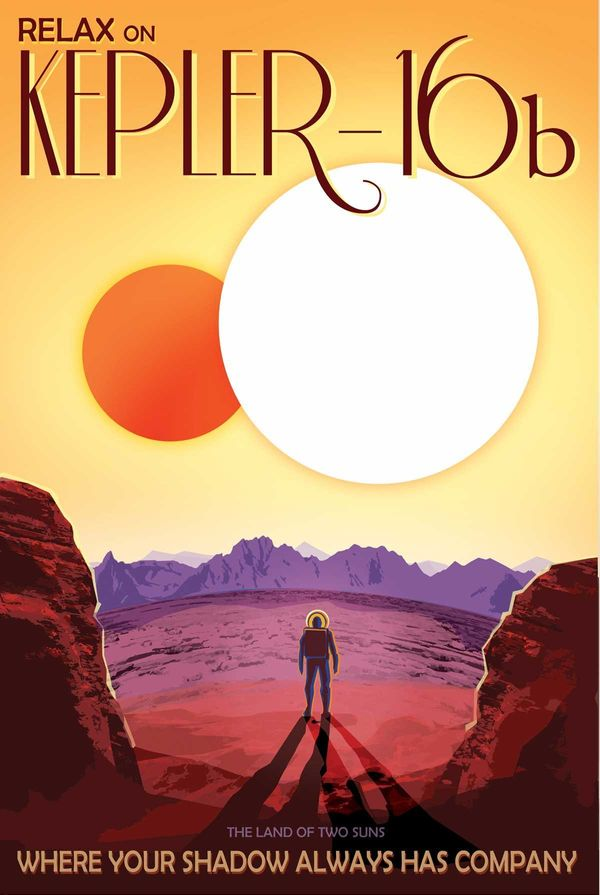 "Like Luke Skywalker's planet ""Tatooine"" in Star Wars, Kepler-16b orbits a pair of stars. Depicted here as a terrestrial plane"