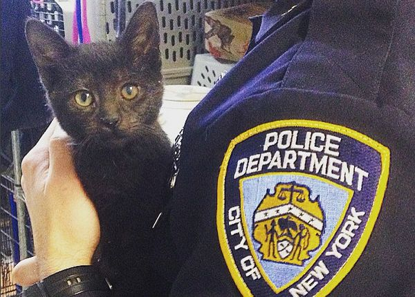 Jellybean and her foster dad, an NYPD officer at the city's 9th Precinct.