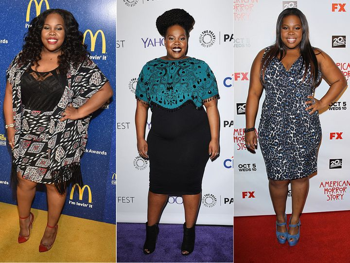 Amber Riley stands out on the red carpet with vibrant outfits.