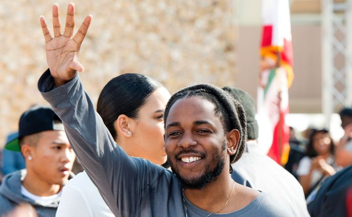 Rapper Kendrick Lamar attends the ceremony honoring him with the Keys of the City of Compton, in Compton, California, on Febr
