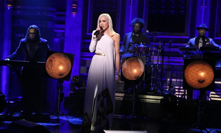 "Musical guest Gwen Stefani performs with The Roots on December 3, 2015 on ""The Tonight Show Starring Jimmy Fallon."""