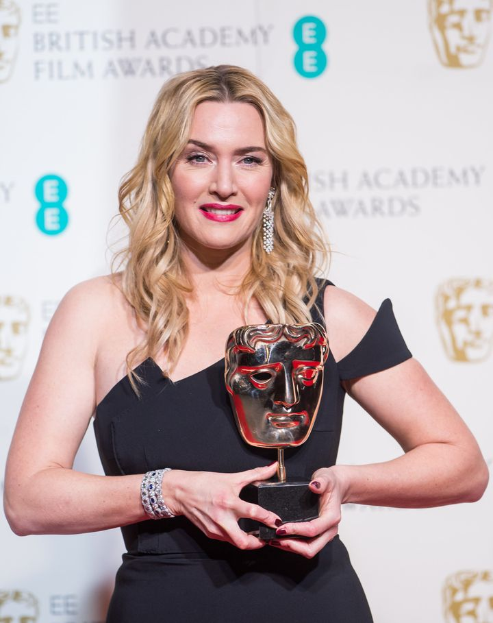 Kate Winslet after winning the BAFTA for Best Supporting Actress.