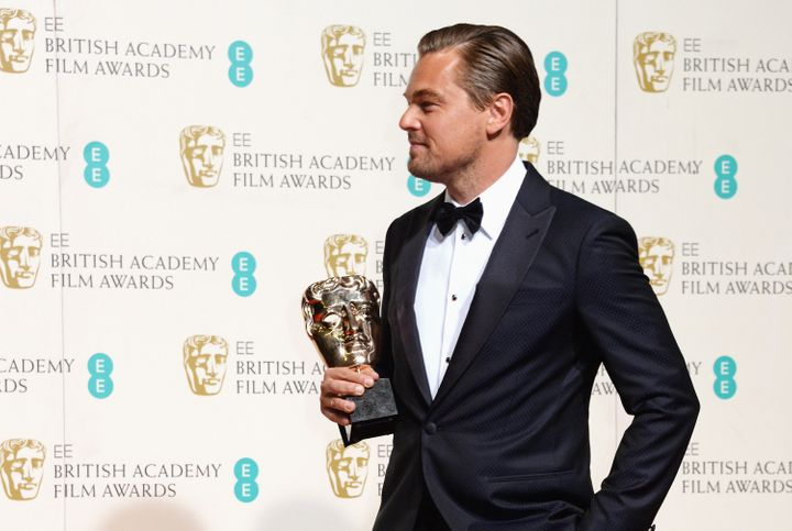 Leonardo DiCaprio after winning the BAFTA for Best Actor.