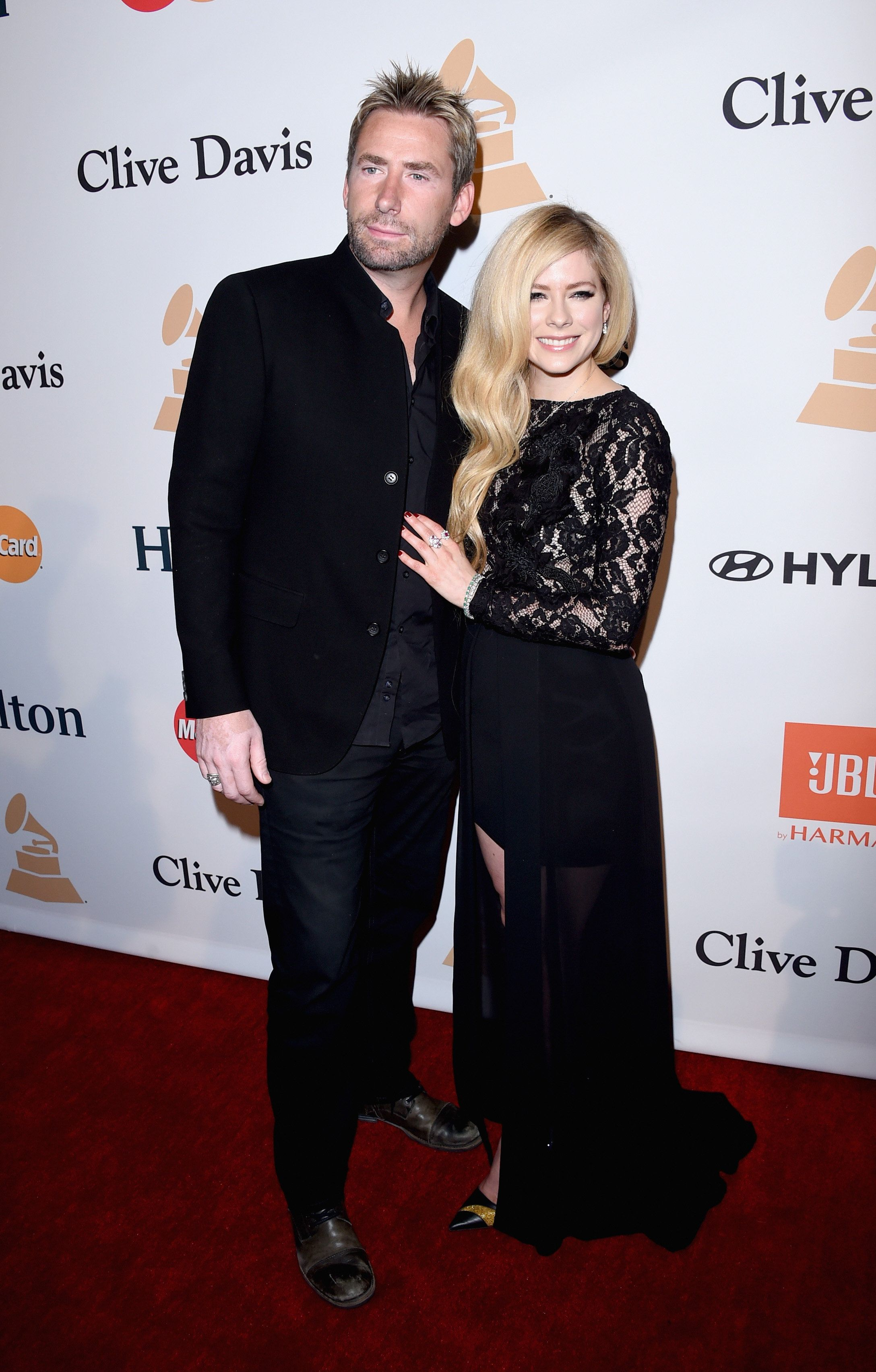 BEVERLY HILLS, CA - FEBRUARY 14:  Recording artists Chad Kroeger of Nickelback (L) and Avril Lavigne attend the 2016 Pre-GRAMMY Gala and Salute to Industry Icons honoring Irving Azoff at The Beverly Hilton Hotel on February 14, 2016 in Beverly Hills, California.  (Photo by Jason Merritt/WireImage)