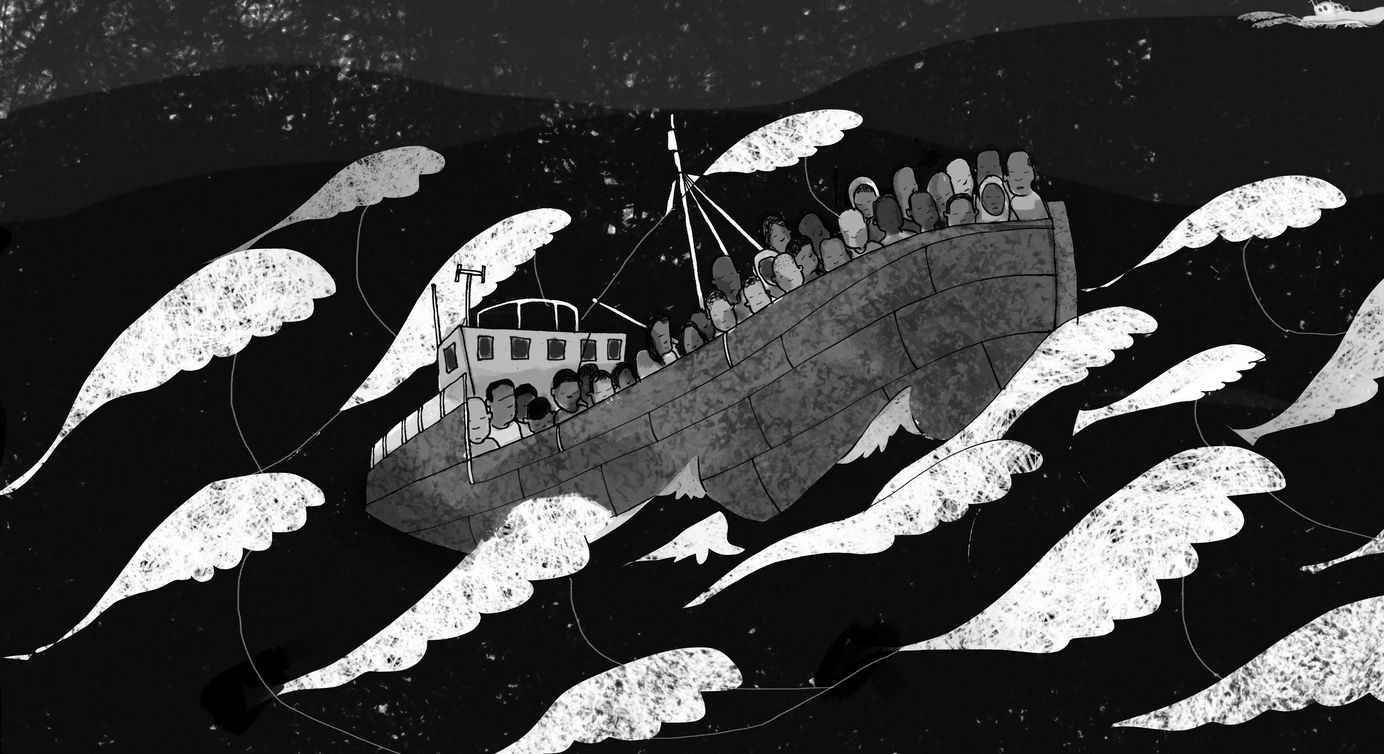 An excerpt from Dix's comic book shows the choppy Mediterranean crossing that Eritrean refugees faced.