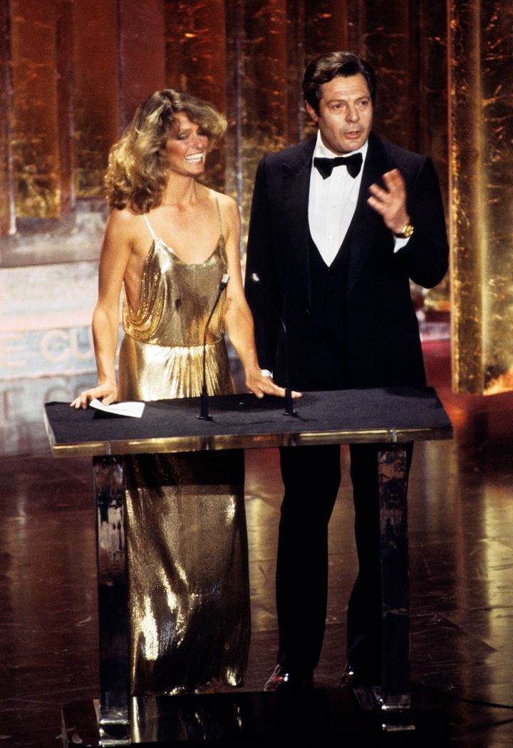 Farrah Fawcett and Marcello Mastroianni at the 50th annual Academy Awards in 1978.