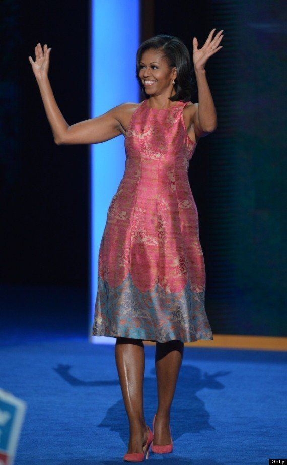 Michelle Obama waves to the crowd at the 2012 Democratic National Convention.