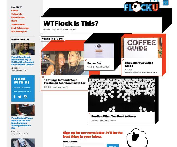 The homepage of FlockU on Feb. 15, 2015.