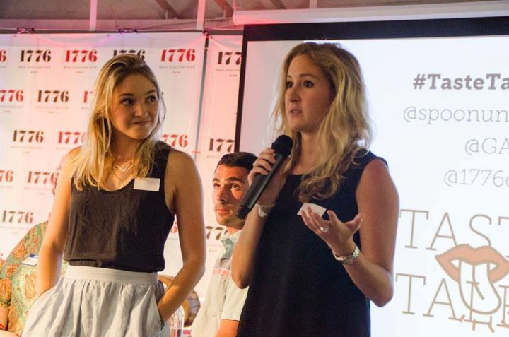 Sarah Adler, left, and Mackenzie Barth, right, speak during an event in Washington, D.C. in 2015 about Spoon University, the