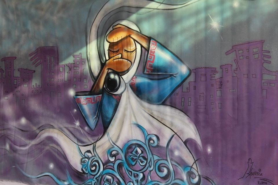 Afghanistan's First Female Street Artist Brings Hijabs And Feminism To City