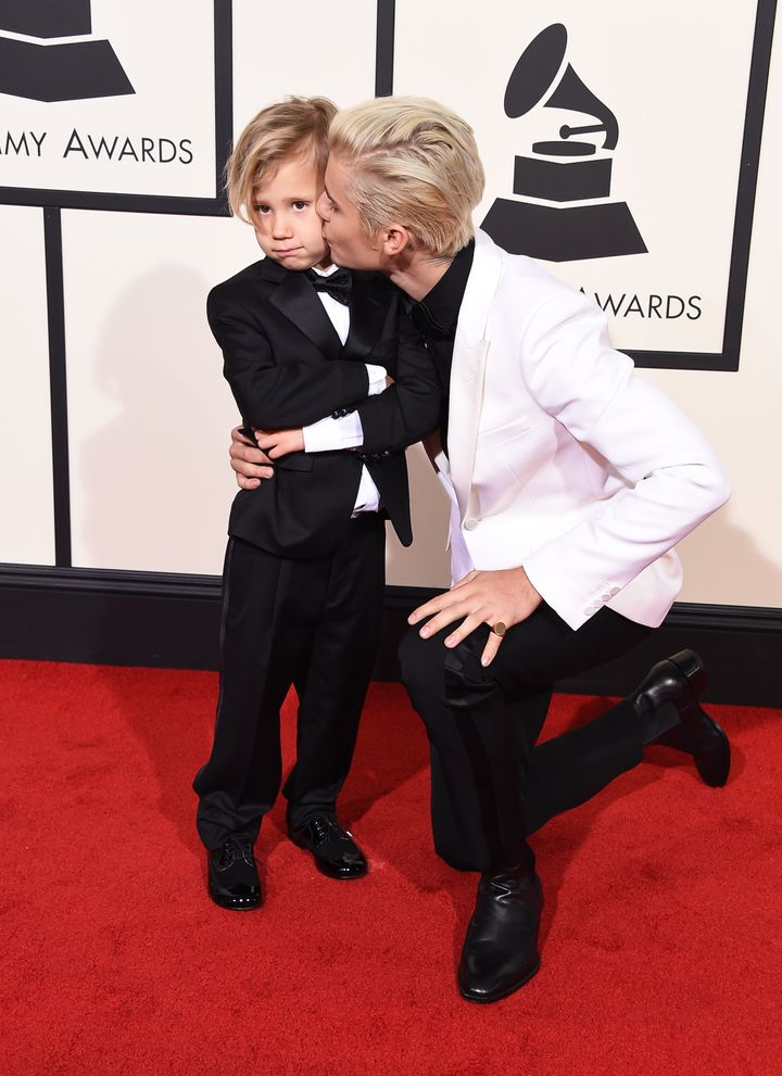Jaxon Bieber and recording artist Justin Bieber attend The 58th GRAMMY Awards at Staples Center on February 15, 2016 in Los A