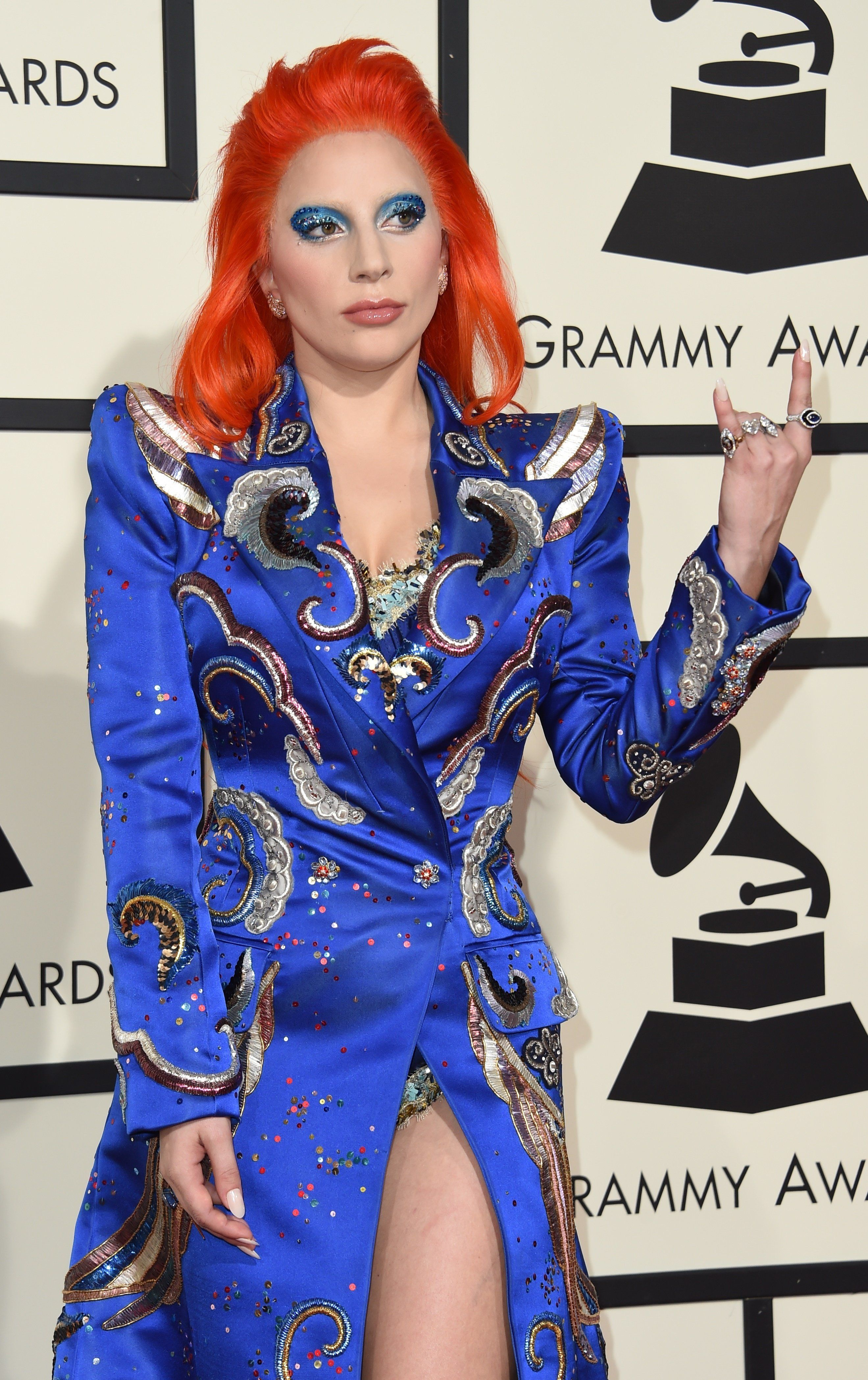 Rock on, Lady Gaga! The singer stuns at the 2016 Grammy Awards.