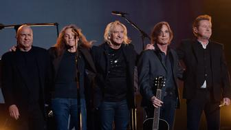LOS ANGELES, CA - FEBRUARY 15:  (L-R) Musicians Bernie Leadon, Timothy B. Schmit, Joe Walsh, Jackson Browne and Don Henley, honoring Eagles founder Glenn Frey, appear onstage during The 58th GRAMMY Awards at Staples Center on February 15, 2016 in Los Angeles, California.  (Photo by Kevork Djansezian/Getty Images for NARAS)