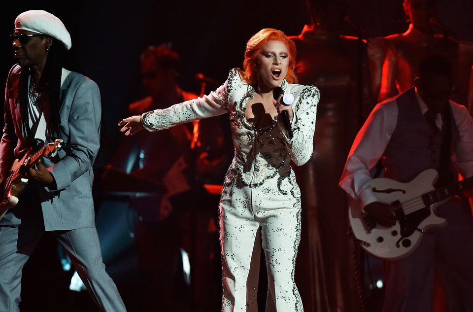 LOS ANGELES, CA - FEBRUARY 15:  Singer Lady Gaga performs a tribute to the late David Bowie onstage during The 58th GRAMMY Aw