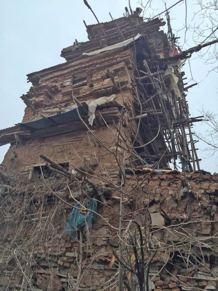 A towering seven-story home made of clay, wood and stone was built by a Chinese farmer.