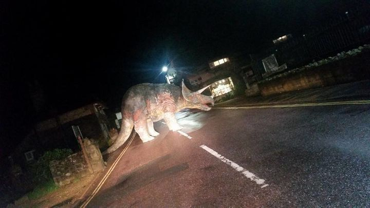 A triceratops statue on the Isle of Wight known locally as Godshilla was moved by pranksters into the middle o