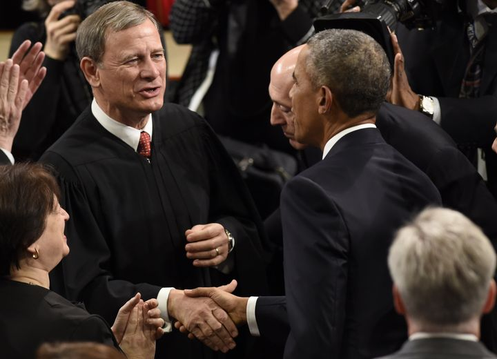 Chief Justice John Roberts mingles with the political branches for President Barack Obama'slast State of the Union addr
