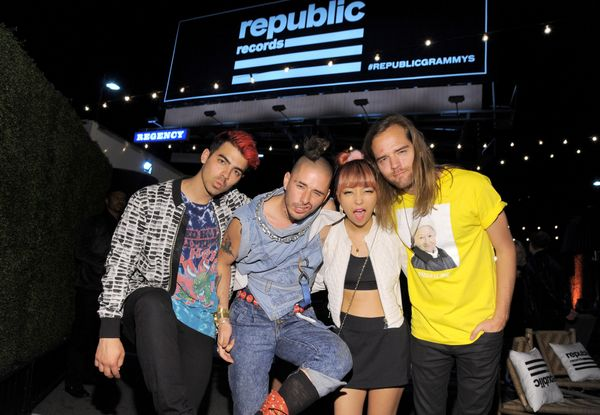Members of the musical group DNCE Joe Jonas, Cole Whittle, JinJoo Lee and Jack Lawless attend the Republic Records Grammy Cel