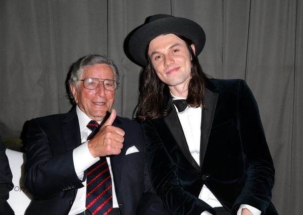 Recording artists Tony Bennett (L) and James Bay attend the Republic Records Grammy Celebration.
