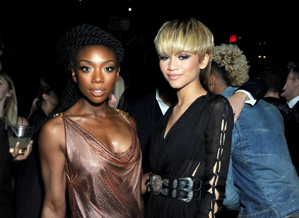 Actress Brandy (L) and singer Zendaya attend the Republic Records Grammy Celebration.