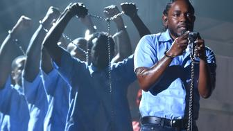 LOS ANGELES, CA - FEBRUARY 15:  Rapper Kendrick Lamar performs onstage during The 58th GRAMMY Awards at Staples Center on February 15, 2016 in Los Angeles, California.  (Photo by Larry Busacca/Getty Images for NARAS)