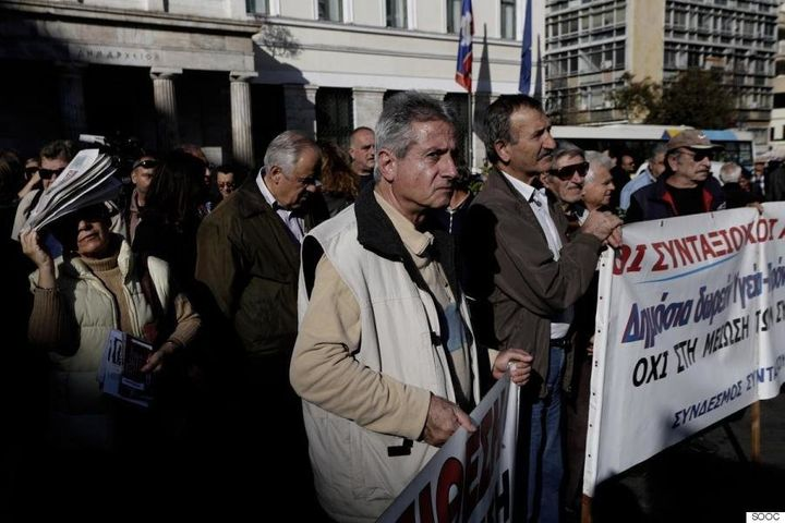 Pensioners protest cuts in Athens on Nov. 26, 2015.