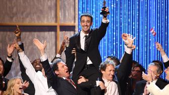 NEW YORK - JUNE 15:  Actor Lin-Manuel Miranda and cast members from 'In the Heights' celebrate on stage after winning for best musical during the 62nd Annual Tony Awards at Radio City Music Hall on June 15, 2008 in New York City.  (Photo by Theo Wargo/WireImage)  *** Local Caption ***