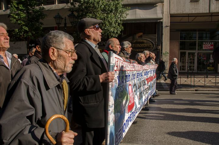Pensioners take part in a demonstrationagainst the government in Athens, as cuts continue, on Jan. 19, 2016.