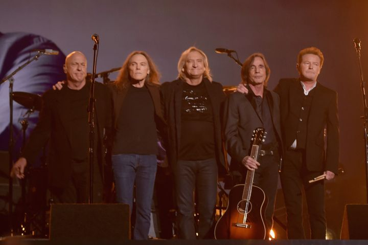 Musicians Bernie Leadon, Timothy B. Schmit, Joe Walsh, Jackson Browne and Don Henley, paying tribute to founding Eagles membe