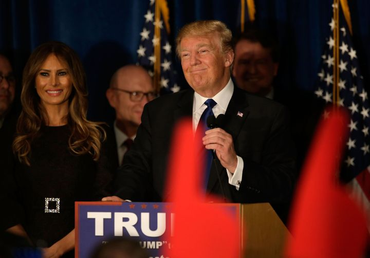 Real estate mogul and presidential candidate Donald Trump speaks at his election night watch party on Feb. 9, 2016, in M