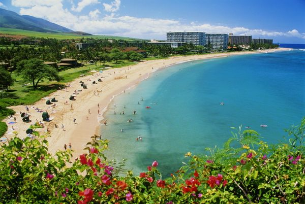 Ka'anapali is located on Maui, but the sand is soft, warm and white. You can view the islands of Lanai and Molokai from